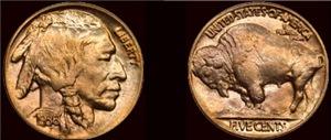 Both Sides 1936 Nickel Indian/Buffalo coin Black