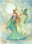 Green Fairy and Dragon Fantasy Art by Molly Harris