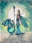 Aquamarine Dragon Fairy Fantasy Art