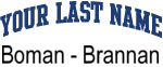 Blue Surname Design Boman - Brannan