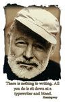 Hemingway-Sit at typewriter and bleed