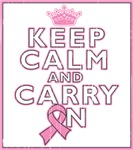 Breast Cancer Keep Calm Carry On Shirts