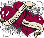 Throat Cancer Hope Faith Dual  Hearts Shirts