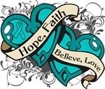 Peritoneal Cancer Hope Faith Dual Hearts Shirts
