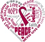 Throat Cancer Heart Words Shirts