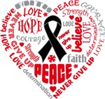 Skin Cancer Heart Words Shirts