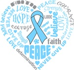 Prostate Cancer Heart Words Shirts