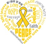Childhood Cancer Heart Words Shirts
