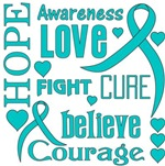 Ovarian Cancer Hope Words Shirts