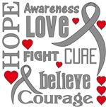 Brain Tumor Hope Words Shirts