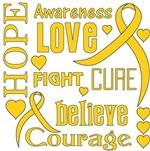 Childhood Cancer Hope Words Shirts