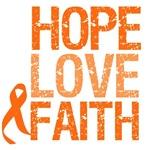 Orange Ribbon Hope, Love & Faith Shirts & Gifts