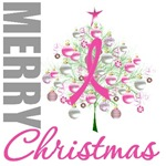 Merry Christmas Tree Pink Ribbon Cards & Ornaments