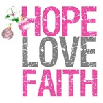 Hope Love Faith Pink Ribbon X-Mas Cards (5)