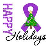 Purple Ribbon Christmas Holiday Cards & Gifts