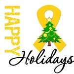 Gold Ribbon Cancer Christmas Holiday Cards & Gifts