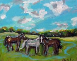 Whimsical Horses in Country Field