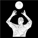 Distressed Volleyball Set Silhouette