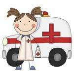 Female EMT and Ambulance