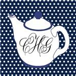Monogram Teapot Polka Dots