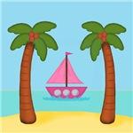 Pink Sailboat on Beach