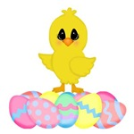 Easter Chick on Eggs