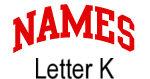 Names (red) Letter K