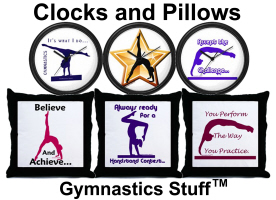 Gymnastics Clocks, Pillows, Pillow Cases