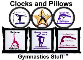 Gymnastics Clocks, Pillows, Pillow Cases