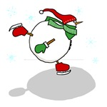 Skating Snowmen in Red and Green