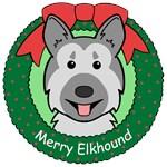 Norwegian Elkhound Christmas Ornaments