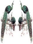 1872 Vintage Green Peafowl Duo