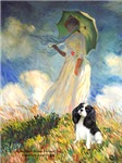 WOMAN WITH UMBRELLA<br>& Cavalier King Charles