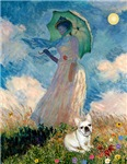 WOMAN WITH UMBRELLA<br>& Fawn French Bulldog