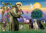 SAINT FRANCIS<br>With Three Labradors