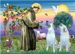 Saint Francis with<br>Two Irish Wolfhounds