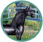 Black Arabian Horse<br>In Lily Pond Bridge