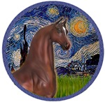 Brown Arabian Horse<br>In Starry Night