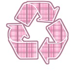Pink Plaid Recycle Sign