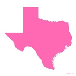 Bright Pink Texas Outline