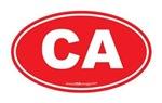 California CA Euro Oval RED