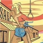 Sexy Western Cowgirl Pop Art Hang 'Em High
