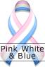 Pink White & Blue Ribbon