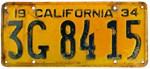 1934 California License Plate