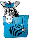 Zebra in a blue bag