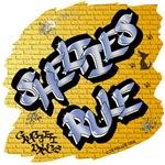 Shetland Sheepdogs Rule! (Blue Graffiti Lettering)