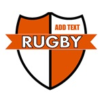 Rugby Shield White Orange Personalize