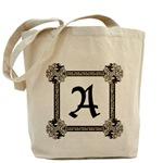 Medieval British motif monogrammed tote bag