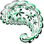 Green Retro Paisley