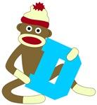 Sock Monkey Monogram Boy D